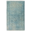 aqua wool area rug rectangle cream fringe edge