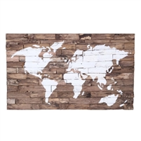 wall panel art reclaimed teak wood world map