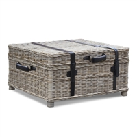 trunk coffee table gray woven rattan storage square straps buckle casual coastal