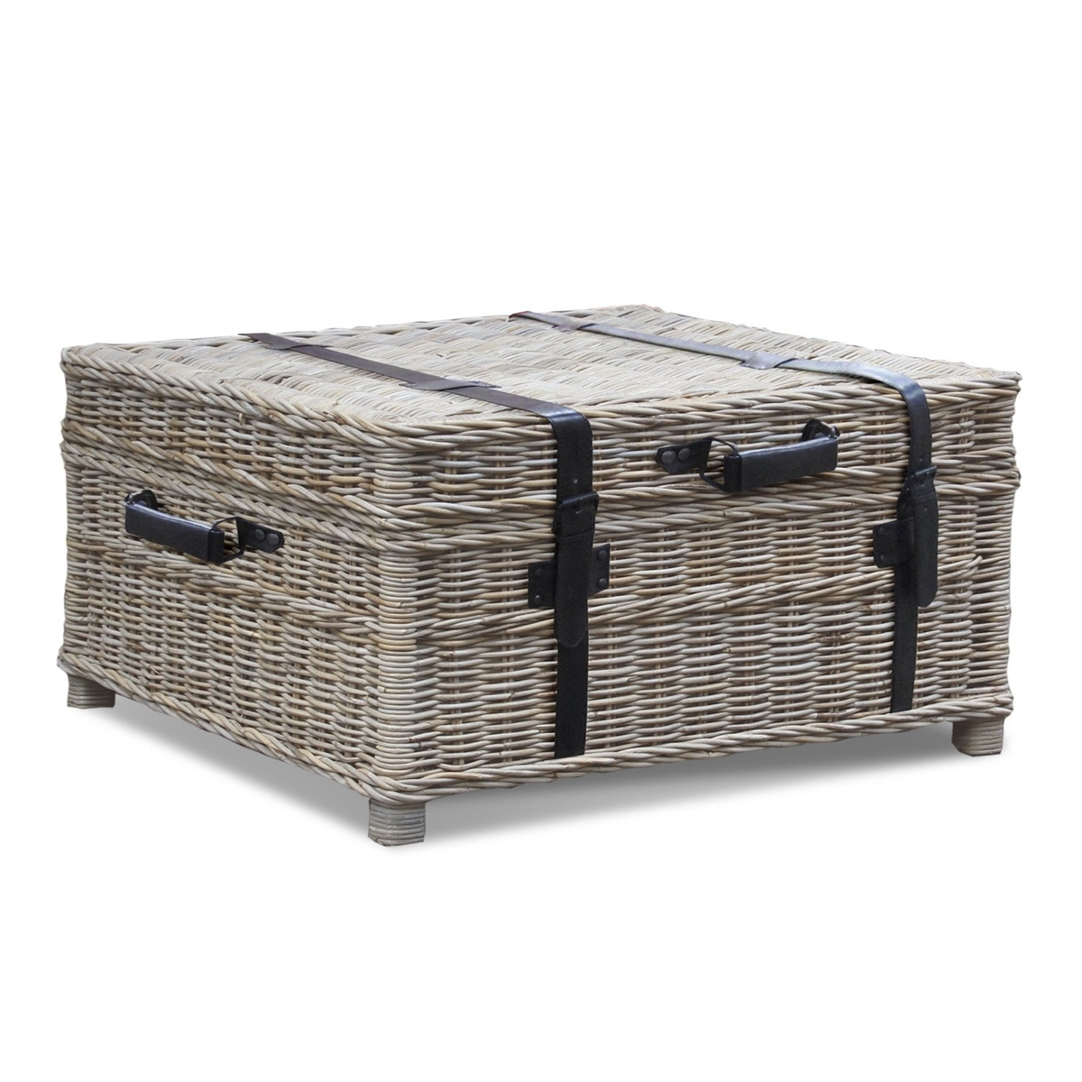 - Woven Coffee Table Trunk Gray Wicker Coffee Table Trunk Square
