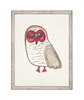 wall art children's watercolor owl brown red eyes wood frame cream distressed