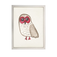 wall art children's watercolor owl brown red eyes wood frame silver
