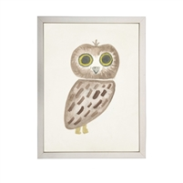 wall art children's watercolor owl brown yellow eyes wood frame cream distressed