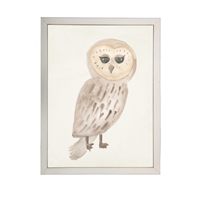 wall art children's watercolor owl tan eyes wood frame cream distressed