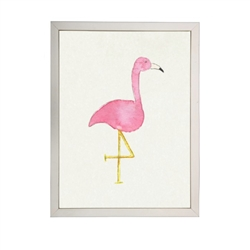 wall art children's watercolor pink flamingo silver frame
