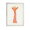 wall art children's watercolor pink orange giraffe silver frame
