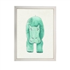 Green Hippo Children's Art - USA-Made Hippo Watercolor Art | BSEID