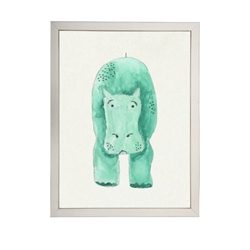 wall art children's watercolor green hippo silver frame