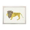 wall art children's watercolor yellow brown lion silver frame