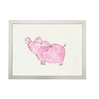 wall art children's watercolor pink pig silver frame