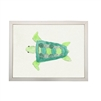 wall art children's watercolor green turtle silver frame