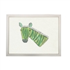 wall art children's watercolor green zebra silver frame