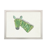 Zebra Children's Art - USA-Made Green Zebra Watercolor Art | BSEID
