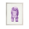 wall art children's watercolor purple hippo silver frame