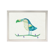 wall art children's watercolor turquoise toucan bird silver frame