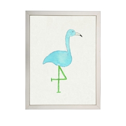 wall art children's watercolor turquoise flamingo silver frame