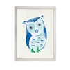 wall art children's watercolor blue owl silver frame