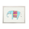 wall art children's watercolor turquoise pink blanket elephant silver frame