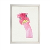 wall art children's watercolor pink emu silver frame
