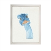 wall art children's watercolor blue emu silver frame