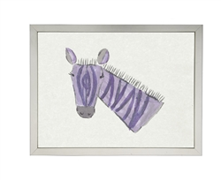 wall art children's watercolor purple zebra silver frame