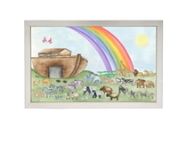 rectangle art print colorful Noah's ark animals boat rainbow