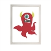 wall art monster red one eye teeth yellow horns Antique Curiosities