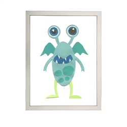 wall art monster aqua turquoise two eyes wings green legs Antique Curiosities