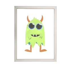 wall art monster bright green orange horns orange legs two fangs Antique Curiosities