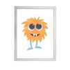 wall art monster orange hair aqua legs two fangs Antique Curiosities