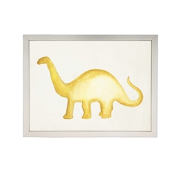 wall art children's water color yellow brontosaurus dinosaur framed silver frame Antique Curiosities