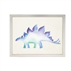 wall art children's water color blue purple stegosaurus dinosaur framed silver frame Antique Curiosities