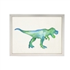 wall art children's water color blue green T-Rex dinosaur framed silver frame Antique Curiosities