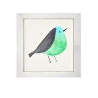 wall art children's watercolor bird green black square silver frame