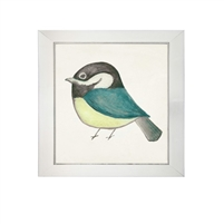 wall art children's watercolor bird teal green black square silver frame