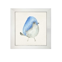 wall art children's watercolor bird blue head square silver frame