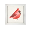 wall art children's watercolor bird red cardinal square silver frame