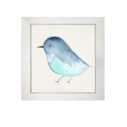 wall art children's watercolor  blue bird square silver frame