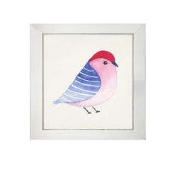 wall art children's watercolor  blue striped wing bird square silver frame