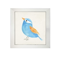 wall art children's watercolor blue orange bird square silver frame