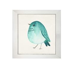 wall art children's watercolor  grey pink bird square silver frame
