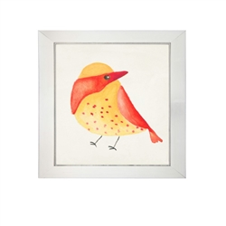 wall art children's watercolor red yellow bird square silver frame