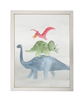 rectangle art print watercolor dinosaur red green blue silver frame