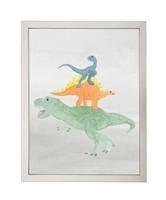 rectangle art print watercolor dinosaur orange green blue silver frame