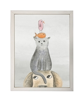 rectangle art print watercolor dog cat funny stack silver frame