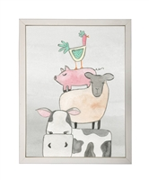 rectangle art print watercolor farm animal funny stack silver frame