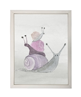 rectangle art print watercolor snail stack silver frame