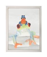 rectangle art print watercolor frog stack silver frame