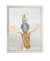 rectangle art print watercolor moose stack silver frame