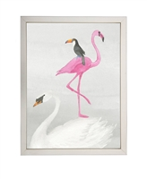 rectangle art print watercolor pink flamingo white swan black bird